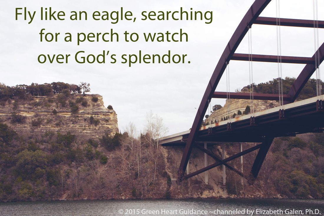 Fly like an eagle, searching for a perch to watch over God's splendor. ~channeled by Elizabeth Galen, Ph.D.