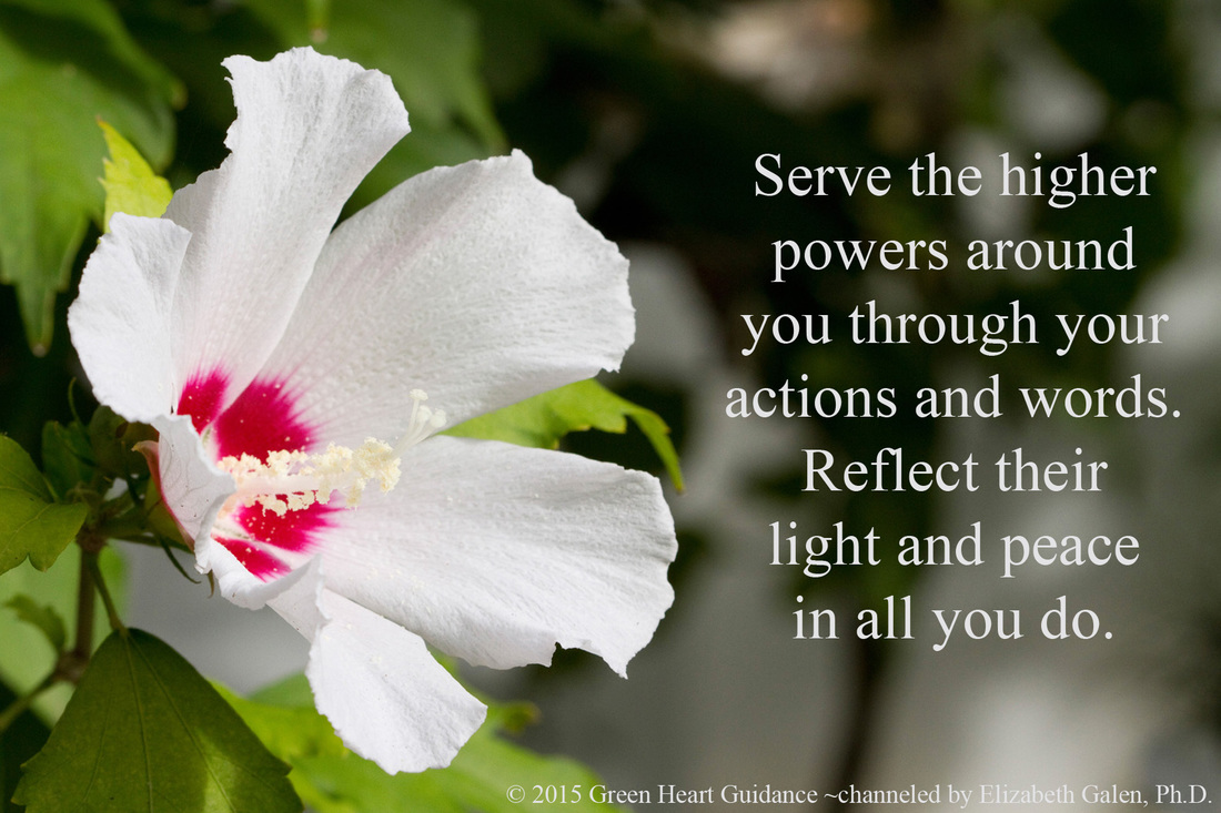 Serve the higher powers around you through your actions and words. Reflect their light and peace in all you do. ~channeled by Elizabeth Galen, Ph.D.