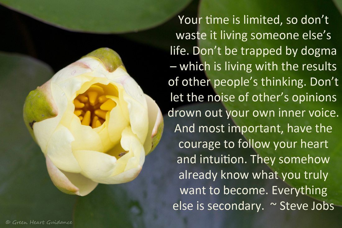 Your time is limited, so don't waste it living someone else's life. Don't be trapped by dogma – which is living with the results of other people's thinking. Don't let the noise of other's opinions drown out your own inner voice. And most important, have the courage to follow your heart and intuition. They somehow already know what you truly want to become. Everything else is secondary. ~ Steve Jobs