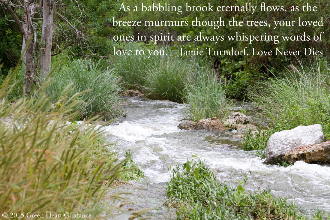 As a babbling brook eternally flows, as the breeze murmurs though the trees, your loved ones in spirit are always whispering words of love to you. ~Jamie Turndorf, Love Never Dies